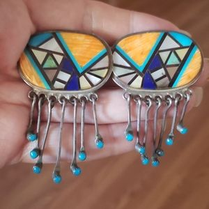 Vintage Zuni Turquoise Lapis Spiny Oyster Sterling